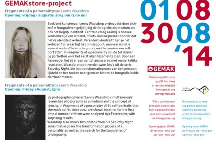August 1st, 17.00 h.: opening Fragments of a personality @ GEMAK | Vrije Academie, The Hague